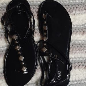 CATO SIZE 10 BLACK STUDDED SANDALS